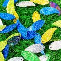 Sequins, Mixed colour, 11mm x 29mm, 65 pieces, 5g, Leaf shape, Sequins are shiny, [CZP650]